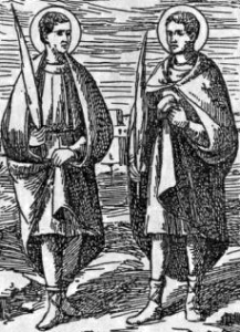 detail of an antique Italian holy card of Saint Alexander and Saint Epimachus, date unknown, artist unknown; swiped with permission from the Santini Imagini web site