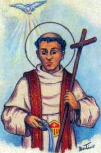 detail from an Italian holy card of Blessed Bartholomew of Olmedo by Bertoni, date unknown; swiped from Santi e Beati