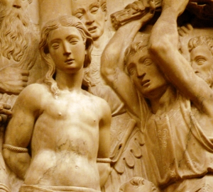 detail of a bas-relief of the flagellation of Santa Eulalia; by Bartolomé Ordóñez, 1520; back choir of the Cathedral of Barcelona, Spain; photographed by Magnificus; swiped from Wikimedia Commons