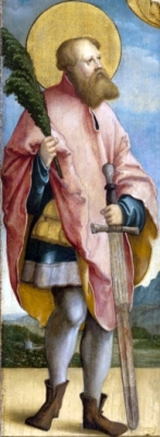 detail of a photograph of an oil painting of Saint Gengulphus of Burgundy, c.1537 by Meister von Meßkirch, outer left wing of an altarpiece from a side altar of the collegiate church of Saint Martin, Meßkirch, Baden-Württemberg, Germany; swiped from Wikimedia Commons