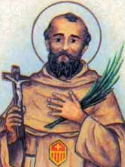 detail of an Italian holy card of Blessed Marco Mattia by Bertoni