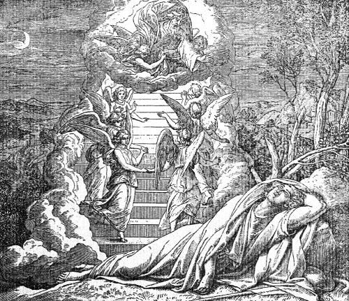 Jacob dreamed that he saw a ladder reaching from earth to heaven. Up and down the ladder many angels went. At the top stood God.