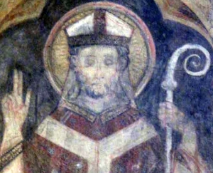 detail of a 14th century mural painting of Saint Eustorgius of Milan, artist unknown; church of Saint Eustorgius, Milan, Italy; photographed on 1 October 2011 by A ntv; swiped from Wikimedia Commons