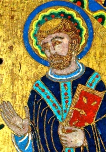 detail of a photograph of a plaque from the high altar at the abbey of Grandmont. Champlevé copper, engraved, chased, enameled and gilt, Limoges, 1189–1190; photographed in 2006 by Jastrow; swiped off the Wikiepedia web site