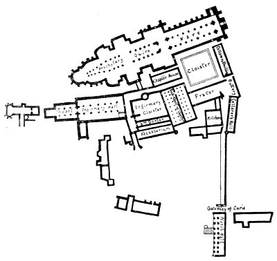 plan of the cathedral priory, Canterbury