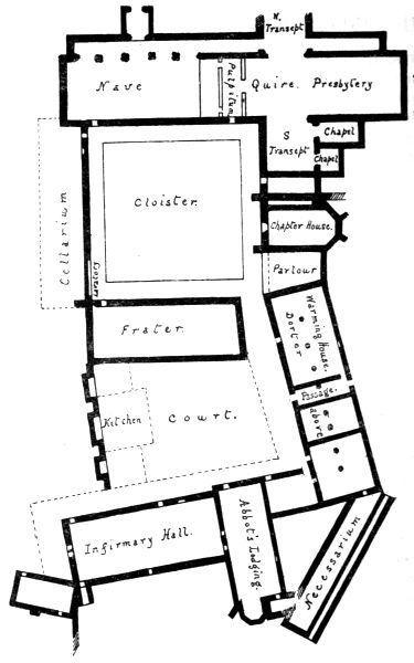 Haughmond abbey plan; the chapterhouse was originally rectangular; the present ending was built after the suppression