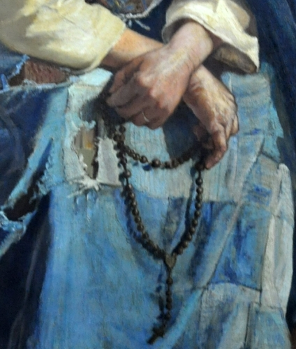 detail of a painting of an old woman in Normandy France, by Nicolas-Auguste Laurens, late 19th century; photographed by Philippe Alès; swiped from Wikimedia Commons