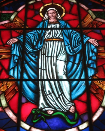 detail of a stained glass rose window of Our Lady of the Immaculate Conception; date unknown, artist unknown; Saint Nicholas Catholic Church, Zanesville, Ohio; photographed on 31 December 2014 by Nheyob; swiped from Wikimedia Commons