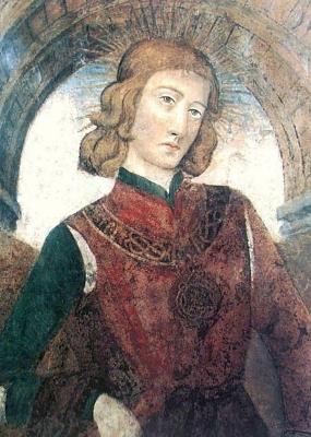 portrait of Amadeus IX, Duke of Savoy, fresco, after 1474, San Domenico church, Turin, Italy; swiped off Wikimedia Commons