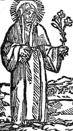 detail of a woodcut of Blessed Angelina of Spoleto, date and artist unknown; swiped from Santi e Beati