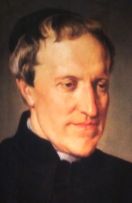 detail of a portrait of Blessed Antonio Rosmini-Serbati by Francesco Hayez; Pinacoteca di Brera, Milan, Italy; swiped from Wikimedia Commons