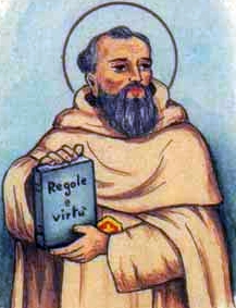 detail of an antique Italian holy card of Blessed Arnold of Carcassonne by Bertoni, date unknown; swiped from Santi e Beati