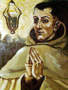 detail from a portrait of Blessed Bartholomew by Spanish Carmelite Rafael Lopez-Melus; swiped from the web site of the Carmelite Province of the Most Pure Heart of Mary