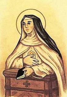 detail of an Italian holy card of Blessed Beatrice de Roelas by Bertoni, date unknown; swiped from Santi e Beati