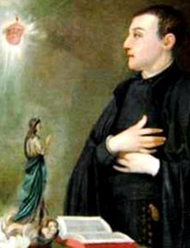 detail of a painting of Blessed Bernardo Francisco de Hoyos Seña, date and artist unknown; swiped from Santi e Beati