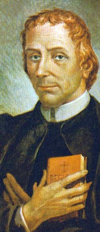 detail of a painting of Blessed Carlo Steeb; 1820 by Aronne Del Vecchio; swiped from Wikimedia Commons