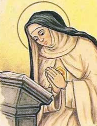 detail of an Italian holy card of Blessed Chiara of the Resurrection by Bertoni, date unknown