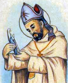 detail of a holy card of Blessed Diego of Saldana; swiped from Santi e Beati