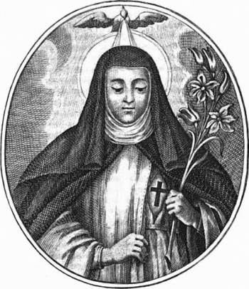 detail of an antique Italian holy card of Blessed Emilia Bicchieri, date and artist unkown; swiped from Santi e Beati
