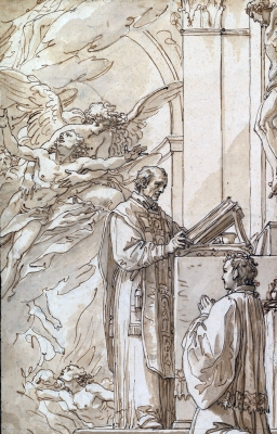 detail from 'Blessed Francis Venimneni Celebrating Mass for Souls in Purgatory', by Giuseppe Cades, late 18th century, Metropolitan Museum of Art, New York