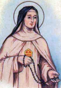 detail of an antique Italian holy card of Blessed Giacobella Mary of the Cross by Bertoni, date unknown; swiped from Santi e Beati