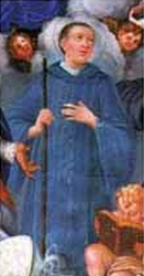 detail of an Italian holy card of Blessed Hugh of Sassoferrato, date and artist unknown; swiped from Santi e Beati