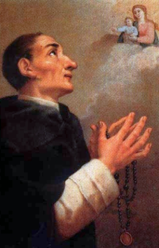 detail of an Italian holy card of Blessed James Grissinger, date unknown; artist of original painting unknown; swiped from Santi e Beati