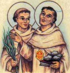 detail of an antique Italian holy card of Blessed Juan de Zorroza and Blessed Juan de Huete by Bertoni, date unknown; swiped from Santi e Beati