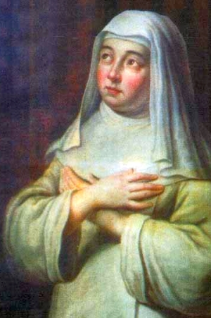 detail of a painting of Blessed Mary of Oignies, date and artist unknown; swiped from Santi e Beati