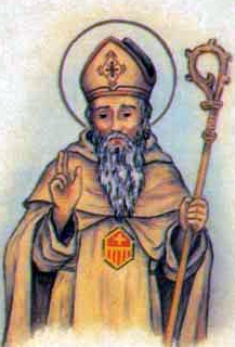 detail of an Italiano holy card of Blessed Peter de Bustamante by Bertoni, date unknown; swiped from Santi e Beati; click for source image