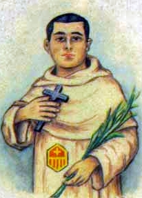 detail of an Italian holy card of Blessed Serapio Sanz Iranzo by Bertoni, date unknown; swiped from Santi e Beati