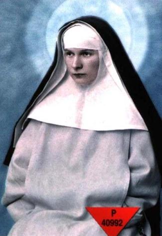 detail of a holy card of Blessed Julia Rodzinska; swiped from Santi e Beati