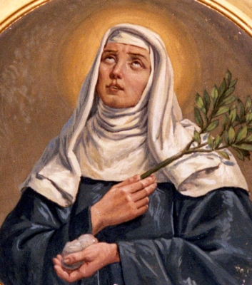 detail of a portrait Blessed Veronica of Milan in a fresco by Luigi Migliavacca, Turago Bordone, Giussago, Italy; swiped off Wikimedia Commons