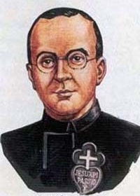 detail of a holy card of Blessed Vicente Díez Tejerina, date and artist unknown; swiped from Santi e Beati