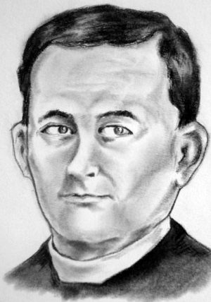 detail of an illustration of Blessed Vicente Vilumbrales Fuente, date and artist unknown; swiped from Santi e Beati