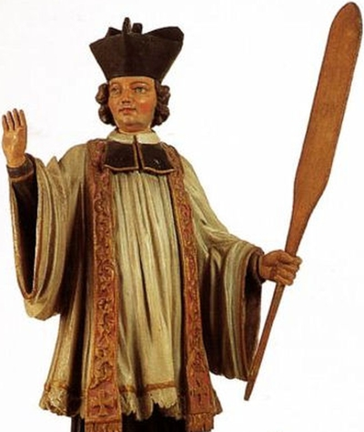 detail of a statue of Blessed Walhere, date and artist unknown