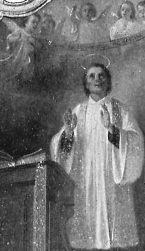 detail of an illustration of Blessed William pictured as preaching from the lectern; date and artist unknown; swiped from Santi e Beati