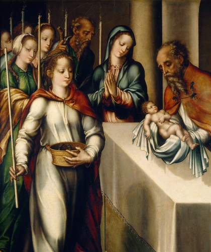 detail of the painting 'The Purification of the Virgin or The Presentation in the Temple' by Luis de Morales, c.1562; Museo del Prado, Madrid, Spain; swiped from Wikimedia Commons