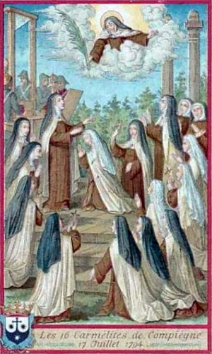 French holy card of the Carmelite Martyrs of Compiègne, date and artist unknown; swiped from Santi e Beati