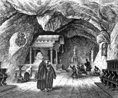 engraving of the interior of the Chapel of Saint Rosalia; from the Illustrated Catholic Family Annual, 1883, artist unknown