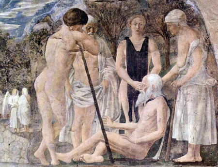 detail of a fresco of 'The Death of Adam' by Piero della Francesca, 1452-1466, Basilica of San Francesco, Arezzo, Italy; swiped from Wikimedia Commons