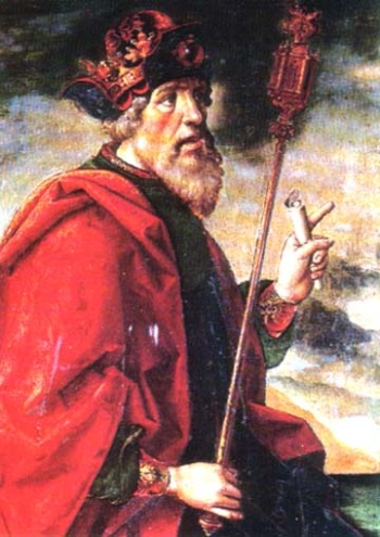 detail of a painting of Esdras the Prophet, date and artist unknown; swiped from Santi e Beati