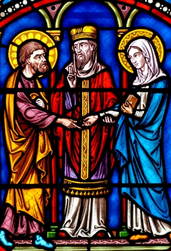 detail from a stained glass window of the wedding of Saint Joseph and the Blessed Virgin Mary; by Martial Mailhot, 1895; bottom panel of a window, apsidal chapel, church of Saint-Austremonius of Issoire, Auvergne, France; photographed in 2006 by Jastrow; swiped from Wikimedia Commons
