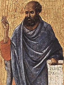detail of a portrait of Ezekiel, by Duccio di Buoninsegna, 1308-11, National Gallery of Art, Washington, DC
