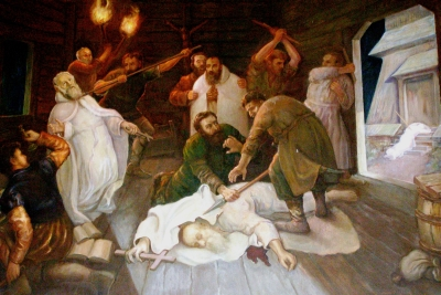 painting 'Death of Benedict, Joh, Matthew, Isaac and Krystyn, The five brothers martyrs', artist unknown, hermitage in Bieneszew, Poland; photographed in August 2008 by Theologian Alberts; swiped off Wikipedia