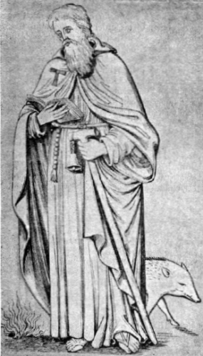 illustration of Saint Anthony the Hermit from 'A Garner of Saints', 1900, artist unknown