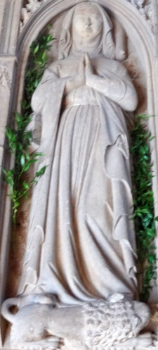 detail of the bas-relief tombstone of Blessed Gertrud von Altenberg; date unknown, sculptor unknown; Altenberg Convent; photographed on 9 September 2012 by Cherubino; swiped from Wikimedia Commons