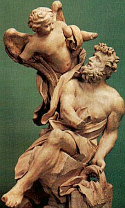 detail of the statue 'Habakkuk and the Angel' by Gian Lorenzo Bernini, 1655, Museo Sacro, Musei Vaticani, Vatican City, Rome, Italy