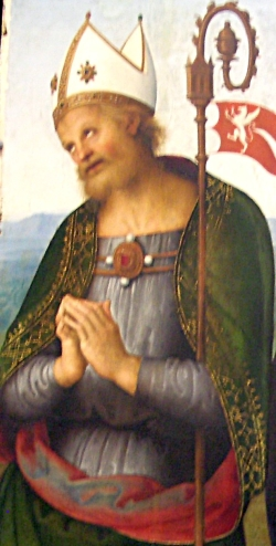 detail of a painting of Saint Herculan; 1505 by Le Perugin; Musée des Beaux-Arts de Lyon, France; photographed on 18 October 2009 by Theoliane; swiped from Wikimedia Commons