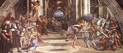 detail from 'The Expulsion of Heliodorus from the Temple' by Raffaello Sanzio, 1511-1512, Stanza di Eliodoro, Palazzi Pontifici, Vatican